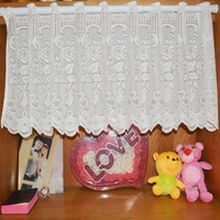Warp Knitted Jacquard Garden White Short Curtain Lace Kitchen Curtains for Door Window Sheer Translucent Product