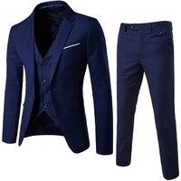VISADA JAUNA 2018 New Men Suit Blazer Pants Vest 3 Pieces Business Men Blazers Slim Fit