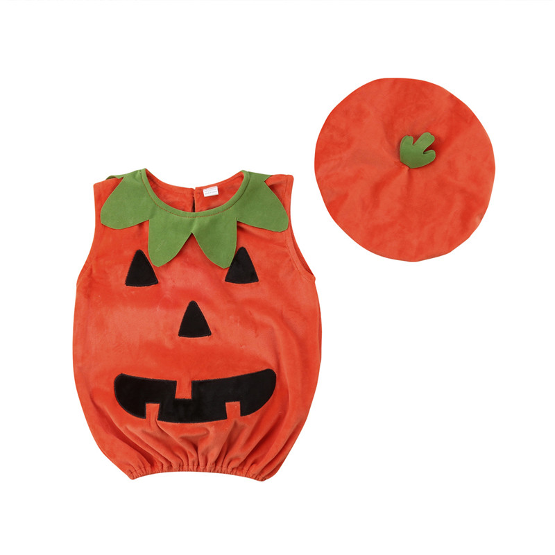 Halloween Costume Kids Toddler Baby Boys Girls Cosplay Pumpkin Suit Sleeveless Tops Dress+Hat 2Pcs Cute Outfits Clothes Set 0-3T