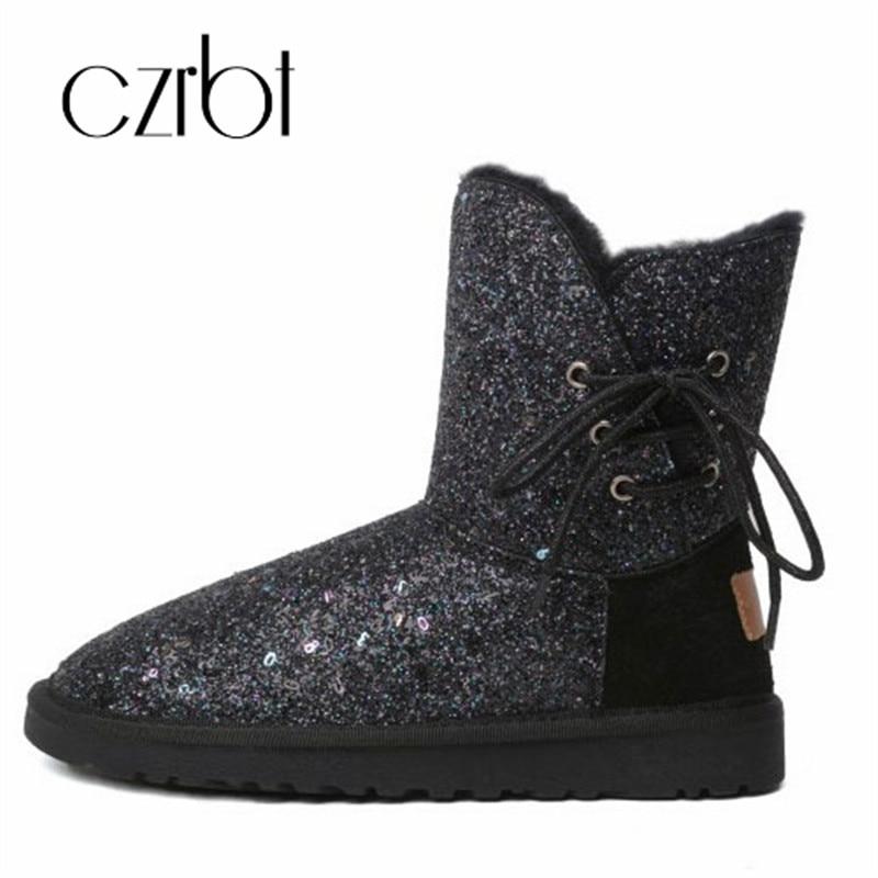 Cxrbt 2018 nouveau hiver en peluche chaud mode paillettes tissu femmes bottes de neige plat avec hauteur de talon bout rond antidérapant femmes chaussures