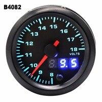 2 inch 52mm 12V Car Motorcycle LED Digital Display Voltmeter 7 Color Blacklight LED Volt Voltage Gauge Meter for Auto Boat ATV