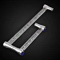 425mm 225mm Modern Fashion Clear Air Bubble Blue Crystal Shower Door Handles Stainless Steel Acrylic Bathroom
