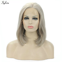 Sylvia High Temperature Short Bob Wigs Natural Straight Shoulder Length Platinum/Ash Blonde Color Synthetic Hair Lace Front Wigs