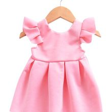 Newborn Baby Dresses Pink & Blue Flying Sleeves Lace Bow Bac