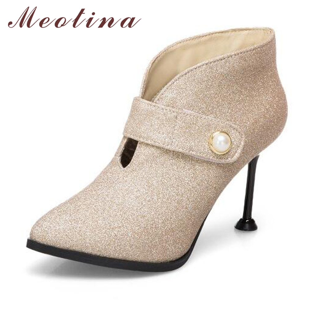 2689d86e53f3 Meotina Women Ankle Boots Winter Thin High Heel Boots Red Wedding Shoes  Sexy Ladies Stiletto Pumps Gold Purple Big Size 45 46