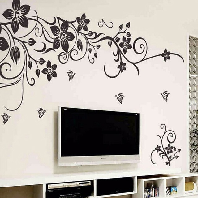 ce9a7319414 Removable Black Vinyl Butterfly Vine Flower Wall Sticker decal Decals  Wallpaper wall stickers Mural Home Decor for Living Room