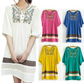 Spring 2014 Maternity Cotton Embroidery Dress Vestidos Plus Size Casual Knee-length Clothes Dresses For Pregnant Women  New Hot