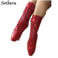 Sorbern Red Patent Ankle Women Boots Lace Up Cross Tied Short Ladies Booties Custo Color Plus Size Sm Shoes 7 Inch Boots Heels