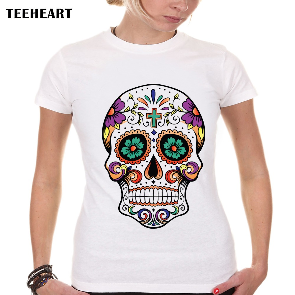teeheart 2017 fashion design sugar skull t shirt o neck cool funny tee shirt short sleeve top. Black Bedroom Furniture Sets. Home Design Ideas