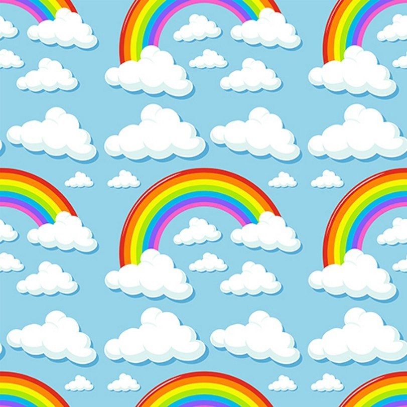 White Cloud Rainbow Colored Blue Sky backdrops Vinyl cloth High quality Computer printed children kids Backgrounds