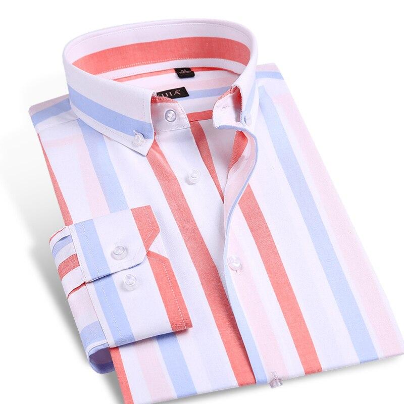 737ff33a7f Contraste Listrado Negrito Longo-Manga da Camisa de Vestido dos homens  Punhos Ajustáveis Soft Comfort Slim-fit 100% Puro Algodão Camisas Button- down