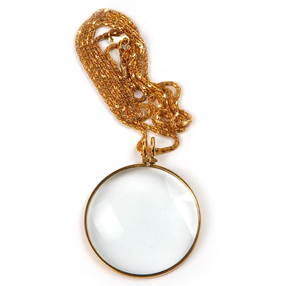 Naujas diametro 42 mm aukso 5X didinamojo stiklo karoliai, dėvintis stilingą lūpą, prabangus padidinimo įrankis skaitymo ir dovanų žiūrėjimui