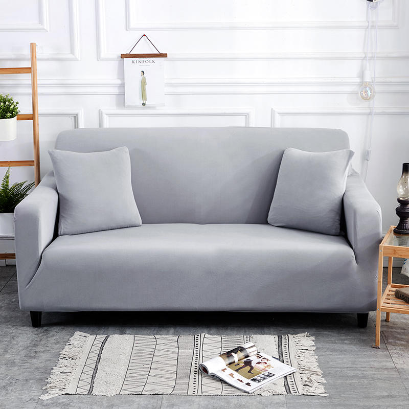 Light Grey Sofa Slipcover: Light Grey Solid Simple Elastic Sofa Protector Cover For