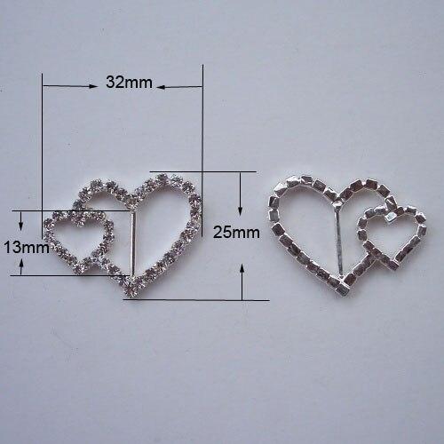 M0224 13mm inner bar 32mmx25mm heart rhinestone ribbon silder silver plating