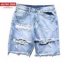 Aelfric Eden Denim Destroyed Shorts Men 2018 Summer Ripped Hole Jean Hip Hop Shorts Men Skateboard Man Active Short Jeans St12