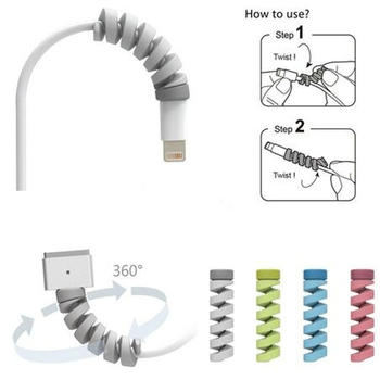 Cartoon Flexible Spiral Tube Cable Winder Protector Wire Cord Organizer Protetor for Apple Watch iPhone Charging Cable freeing