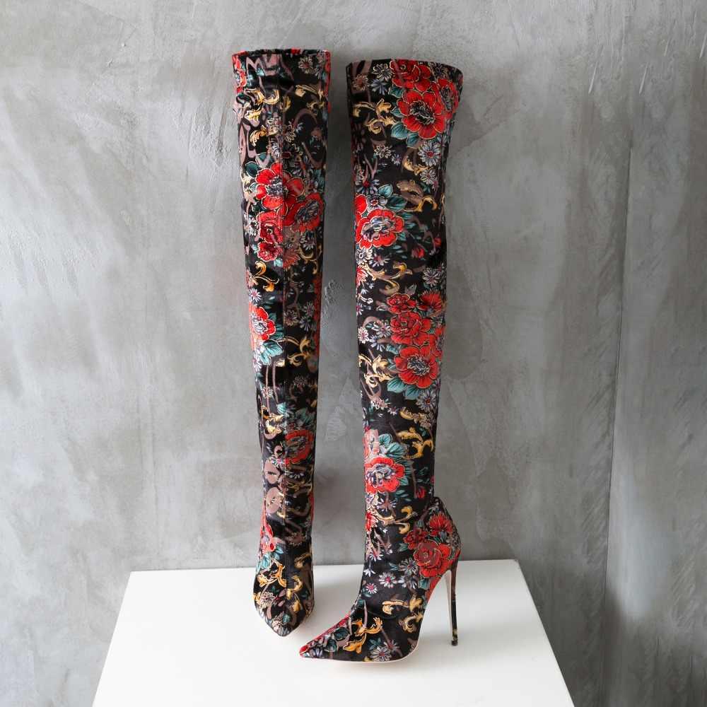 Mstacchi Herfst Winter Vrouwelijke Over De Knie Laarzen Bloem Prints Hoge Hakken Dames Partij Schoenen Womens Stretch Dij Hoge Laarzen