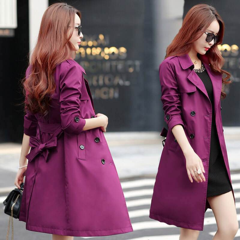 Trench-Coat Windbreaker Spring Outwear Oversize Female Autumn Double-Breasted Long Casual