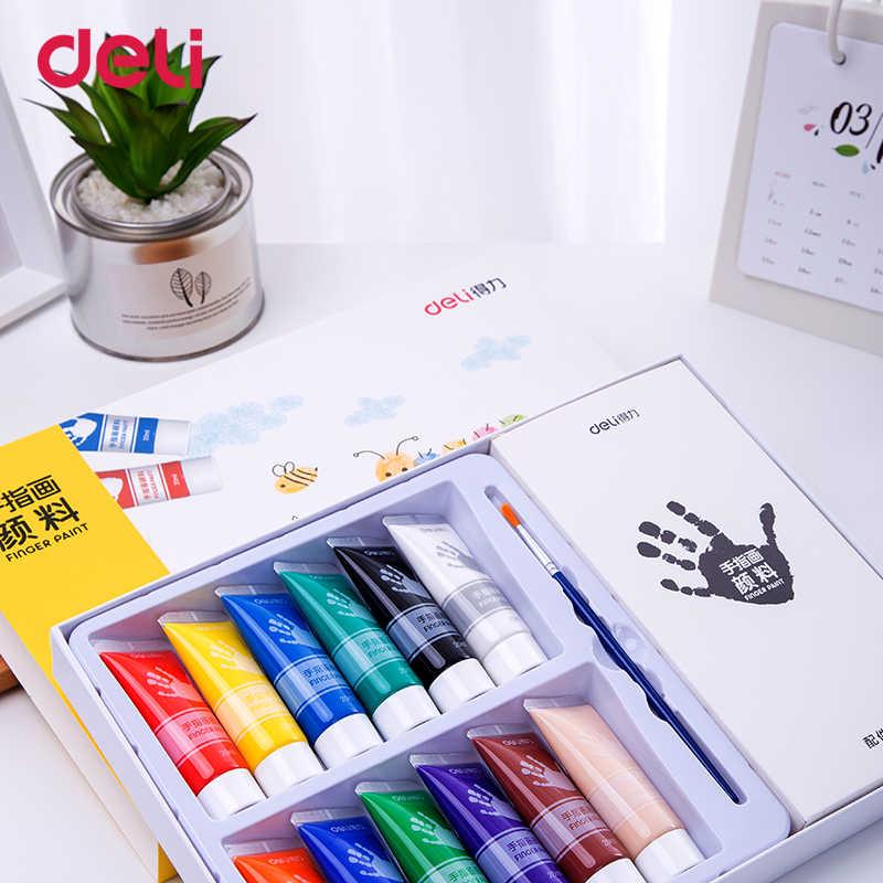 Deli 6/12 kleuren vinger verf milieuvriendelijk Niet giftig wasbaar schilderij set kinderen graffiti aquarel gouache geschenken