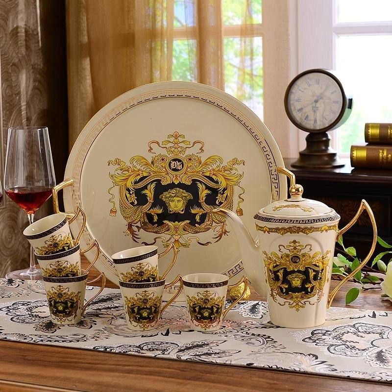 Позолоченные Кофейные Наборы чашек костяного фарфора/8 шт чайных чашек керамические. 1 чайник и 6 чашек - 6