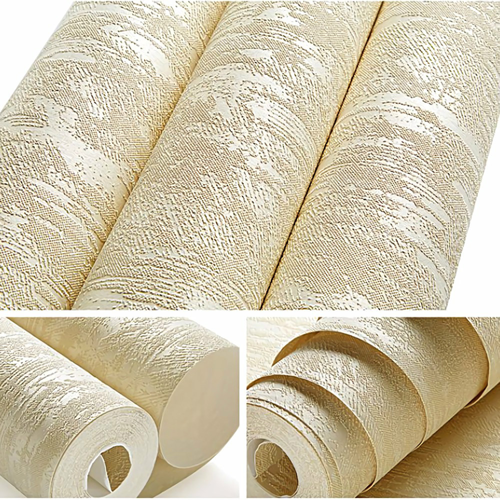 Solid Color Embossed Textured Wallpaper 3d Flocking Non Woven Wall