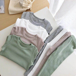 Image 3 - New Ribbed Fitted Pajamas For Baby Girl Pajamas Kids Boy Children Clothes Autumn Winter Toddler Set Soft Comfortable Long Sleeve