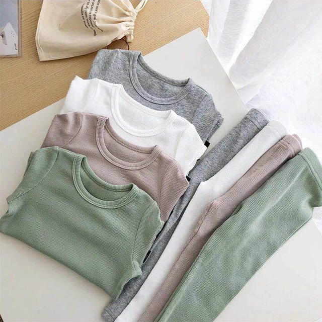 New Ribbed Fitted Pajamas For Baby Girl Pajamas Kids Boy Children Clothes Autumn Winter Toddler Set Soft Comfortable Long Sleeve