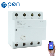 OPEN WIFI 4P 40A Din Rail WIFI Circuit Breaker relay type Smart Switch Remote control by eWeLink APP все цены