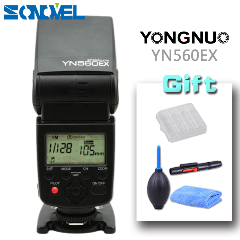 YONGNUO YN-560EX Upgraded TTL Wireless Flash Speedlite for Canon Nikon Pentax Olympus + 3in1 Clean kit AA Battery box Gift selens seven color speedlite filter honeycomb grid with magnetic rubber band for yongnuo canon nikon flash accessories kit