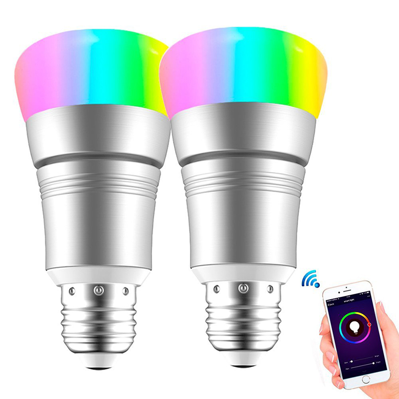 WiFi Smart LED Light Bulb E27/B22 RGBW Wireless Remote Control for Amazon Alexa Google Home CLH@8 magic 7w e27 wifi rgbw led light bulb smart wireless remote control le lamp color change dimmable for home hotel ios android
