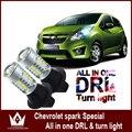 Senhor noite Para Chevrolet Spark LED S25 1156 BAU15S led DRL & Frente Sinais de Volta blinker luz tudo em um