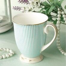 Britânico Purificada Bone China Xícaras de Café E Chapeamento de Ouro Cerâmica Xícara de Chá de Moda Listrado Projeto frete grátis