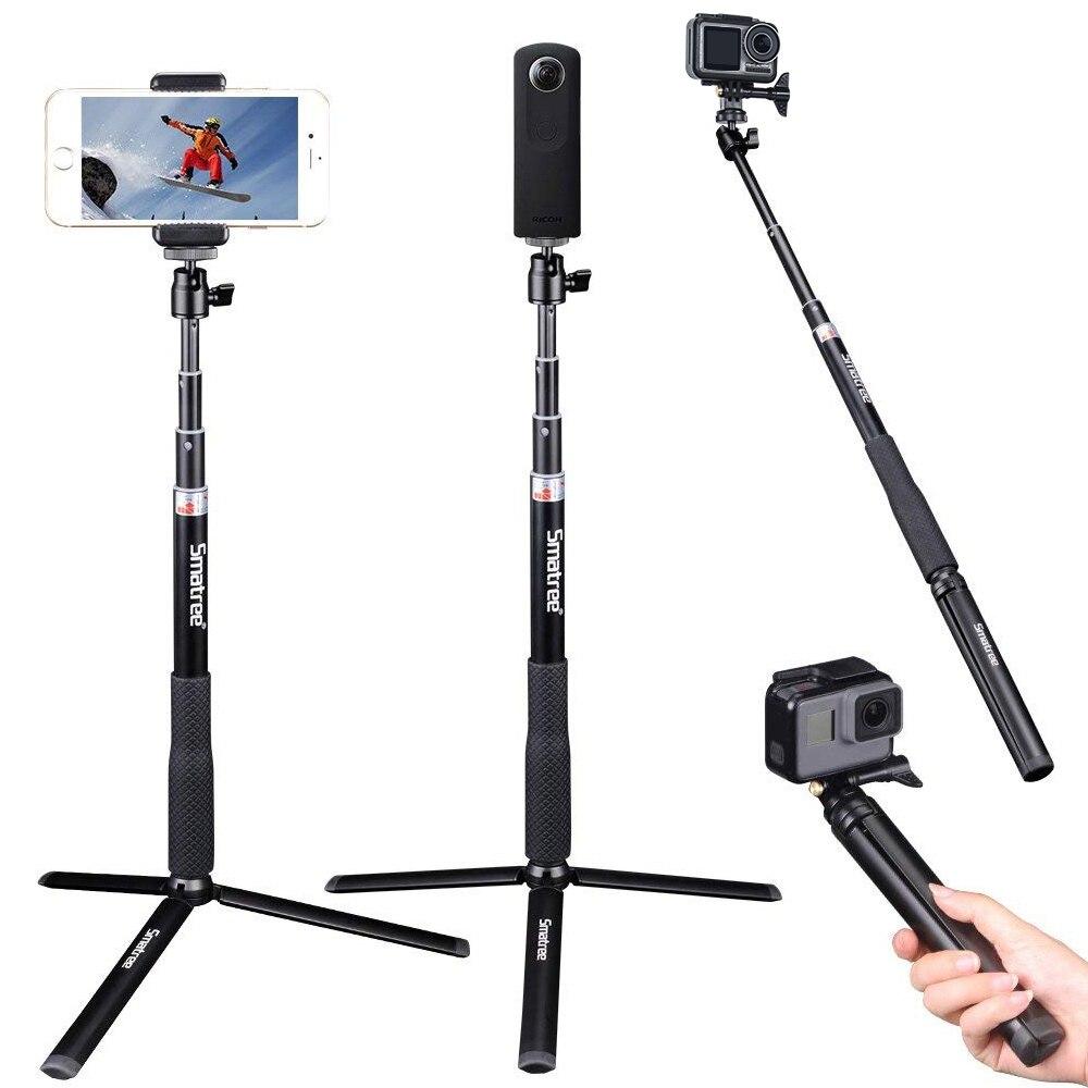 Smatree Q3S bâton de Selfie télescopique avec trépied pour GoPro Hero 8/7/6, pour Yi 4 k, Ricoh Theta S, M15 C, pour DJI OSMO Action