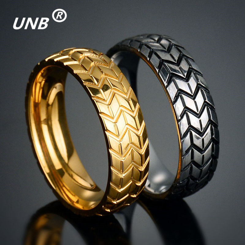 unb 2017 vintage stainless steel the mens tire veins one ring wedding male engagement band jewelry