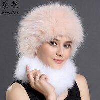 Girls Winter Bomber Hats Solid Russian Women Headgear Real Fox Fur Hat Female Winter Caps Hats New 2018 Girls Real Fur Headband