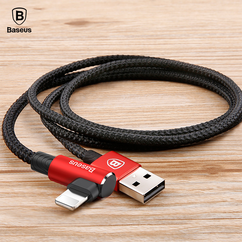 <font><b>Baseus</b></font> 90 Degree USB Cable for <font><b>iPhone</b></font> 5 6 <font><b>6s</b></font> 7 8 Fast Charging Cable for iPad USB Charger Cable L Type Mobile Phone Data Cable image