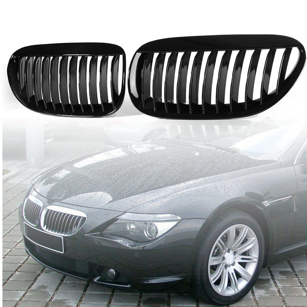 Pair Gloss Black Front Grilles R&L for BMW E63/E64 M6 650Ci 645Ci 2005 2006 2007 2008 2009 2010 1 pair new white front for fender flares for toyota hilux 2005 2006 2007 2008 2009 2010 2011 for fender fares