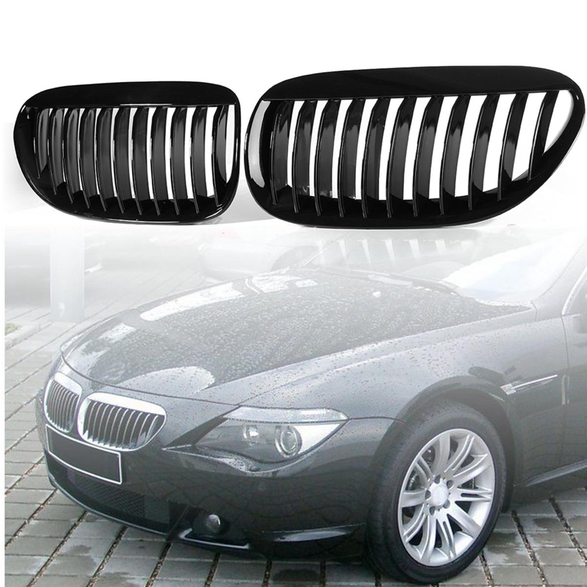 Pair Gloss Black Front Grilles R&L For BMW E63/E64 M6