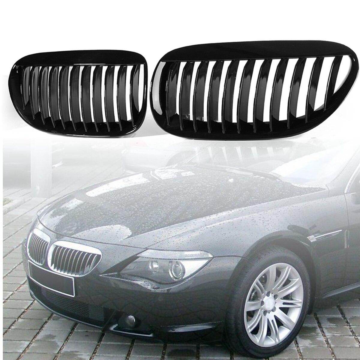 Pair Gloss Black Front Grilles R&L for BMW E63/E64 M6 650Ci 645Ci 2005 2006 2007 2008 2009 2010