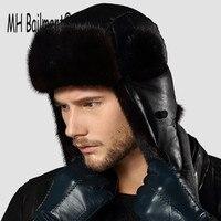 2017 Russian Men Real Mink Fur Hats Winter Warm Outdoor Luxury Caps Natural Sheepskin Fur Bomber