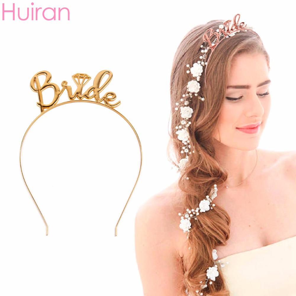 Huiran Wedding Hair Accessories Gold Bride to Be Metal Headband Bachelorette Hen Party Decor Wedding Bridal Shower Girls Gifts