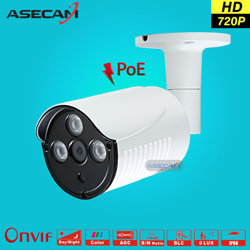 New 720P IP Camera  CCTV 3* IR Array LED 48V POE White Bullet Metal Waterproof Outdoor Onvif WebCam Security Surveillance p2p wistino white color metal camera housing outdoor use waterproof bullet casing for cctv camera ip camera hot sale cover case