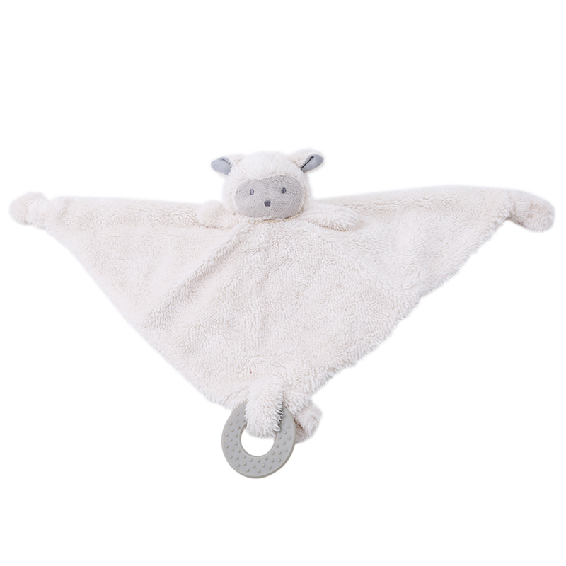 Newborn Blanket Baby Appease Towel Cute Sheep Toys Infant Reassure Towel Educational Sleeping Plush Rattle Toy With Teether