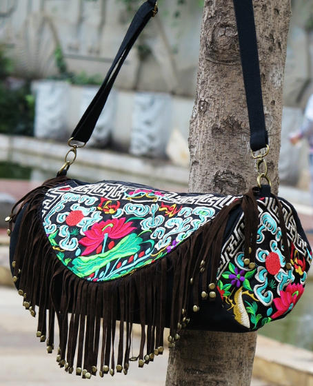 Free Shipping ! new element national trend shoulder bags messenger bag canvas embroidered tassel bucket  embroidery bag