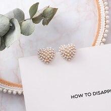 2019 nueva llegada corazón Pendientes de perla simulada para mujeres chica Sweety Moda Pendientes para Mujer de Moda regalo de la joyería