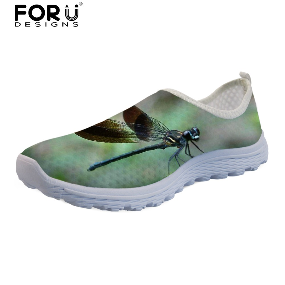 FORUDESIGNS Cute Dragonfly Prints Summer Women Shoes Flats Female Breathable Comfortable Mesh Shoes Zapatos Mujer Women's Casual forudesigns women casual sneaker cartoon cute nurse printed flats fashion women s summer comfortable breathable girls flat shoes