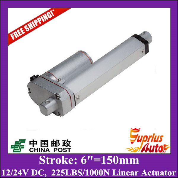 Free Shipping 6=150mm stroke electric linear actuator, 1000N/225LBS push load 24v or 12v linear actuator free shipping 12v or 24v 4inch stroke 1000n force linear actuator with feedback made in china