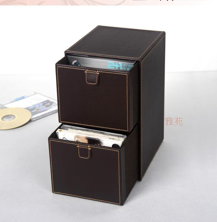 Me 2 Layer 2 Drawer Leather Desk CD/DVD Sundries Container Storage Box Case Organizer  Holder Brown 227B In Storage Drawers From Home U0026 Garden On ...