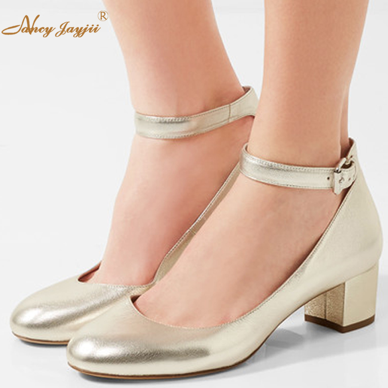 Fashion Black&Gold Crystal Leather Ankle Strap Pumps High Heels Sandals Round Toe Mary Janes Womens Autumn Shoes Nancyjayjii 11 2017 crystal embellished ankle strap runway pump round toe butterfly knot heels shoes woman sexy mary janes shoes real photo