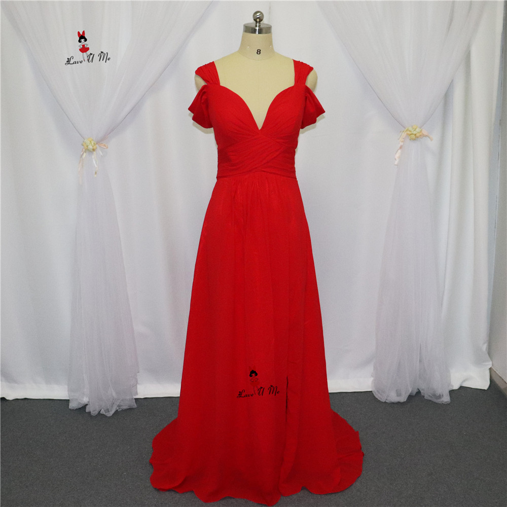 Robe Demoiselle d'honneur 2017 Red Cheap   Bridesmaid     Dresses   Sexy High Quality Real Long Wedding Party   Dress   Front Split